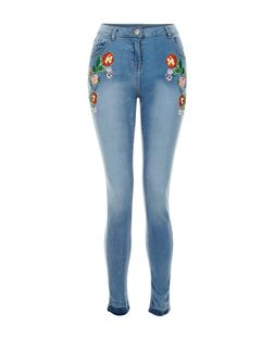 Parisian Blue Embriodered Skinny Jeans | New Look