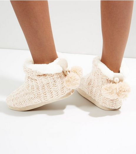 Cream Knitted Slipper Pom Pom Boots | New Look