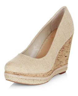 Cream Canvas Contrast Wedges | New Look