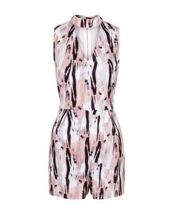 Parisian Pink Abstract Print Cut Out Front Playsuit | New Look