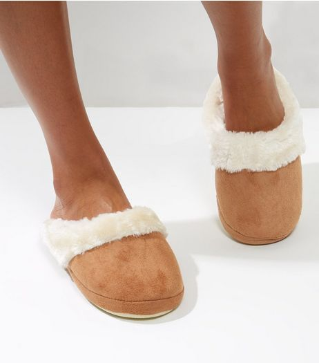 Tan Suedette Faux Fur Lined Mule Slippers | New Look