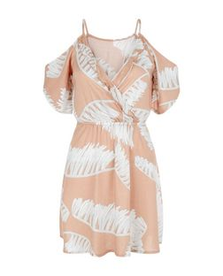 Parisian Shell Pink Palm Leaf Print Cold Shoulder Dress | New Look