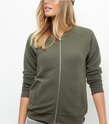 Khaki Ribbed Zip Up Jacket | New Look