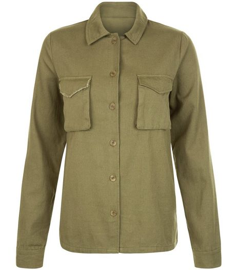Heartbreak Khaki Double Pocket Front Shacket | New Look