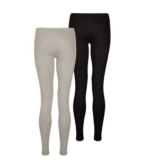 Teens 2 Pack Grey and Black Leggings | New Look