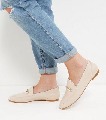 Mocassini  donna Cream Premium Leather Loafers