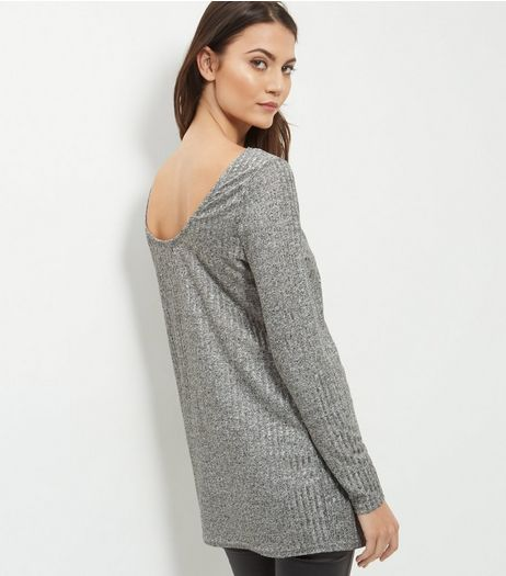 Silver Ribbed Fine Knit Long Sleeve Top  | New Look