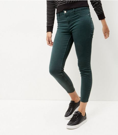 Dark Green Ankle Grazer Skinny Jeans  | New Look