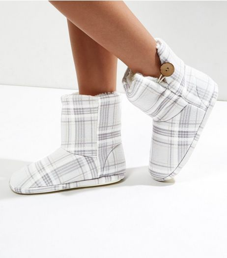 Grey Check Button Slipper Boots | New Look