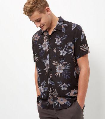 Black Floral Print Single Pocket Short Sleeve Shirt