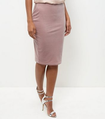 Shell Pink Velvet Pencil Skirt