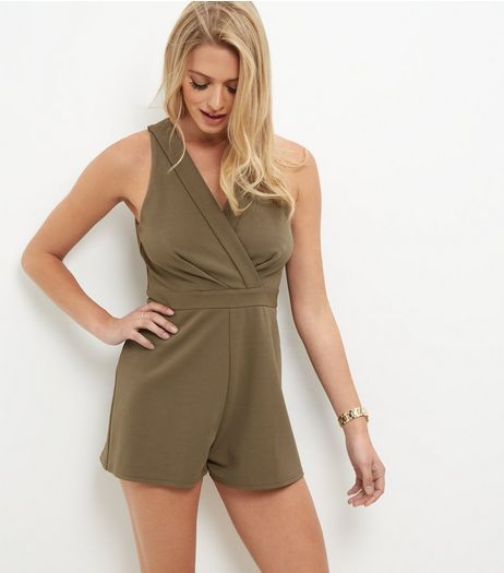 Khaki V Neck Wrap Playsuit | New Look