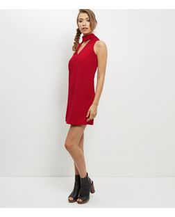 Red Cut Out High Neck Shift Dress | New Look