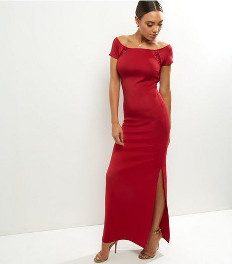 Red Lace Panel Short Sleeve Maxi Dress | New Look