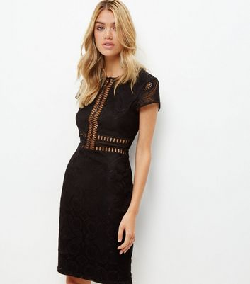 Black Lace Mesh Panel Bodycon Dress