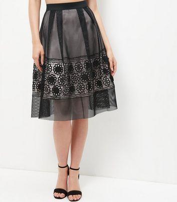 Gonna  donna Black Premium Mesh Floral Panel Midi Skater Skirt