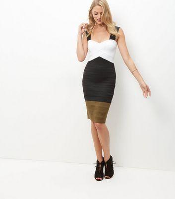 Black Colour Block Bandage Bodycon Dress