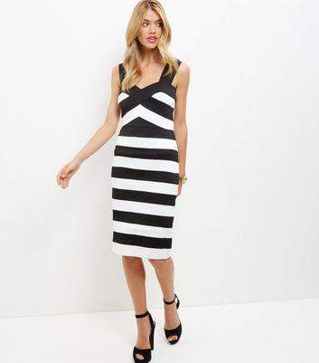Monochrome Stripe Bandage Bodycon Midi Dress