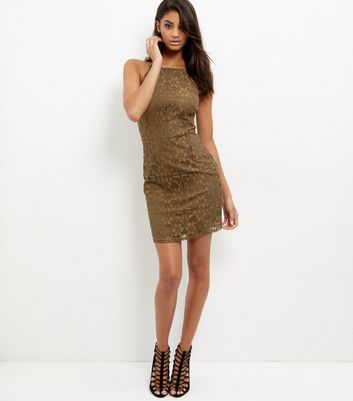 Khaki Lace High Neck Bodycon Mini Dress