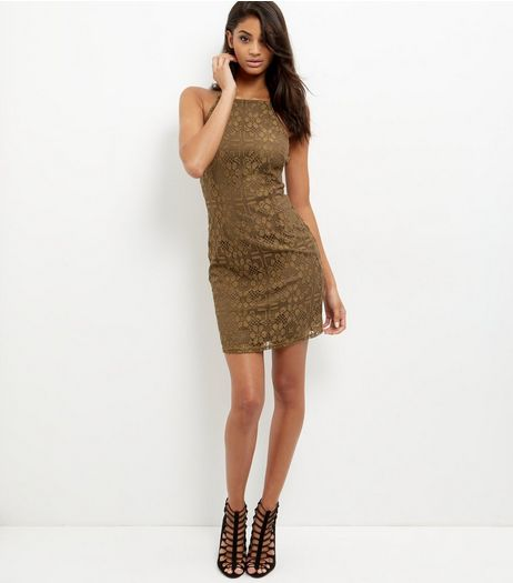 Khaki Lace High Neck Bodycon Mini Dress  | New Look