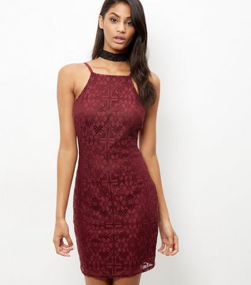 Burgundy Lace High Neck Bodycon Dress