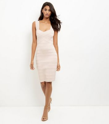 Shell Pink Bandage Bodycon Midi Dress