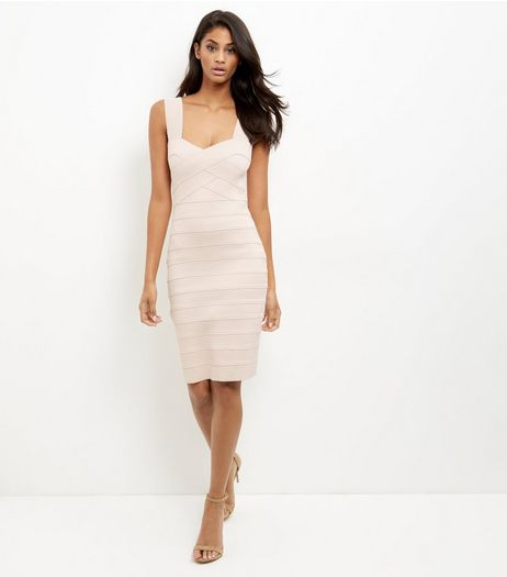 Shell Pink Bandage Bodycon Midi Dress  | New Look