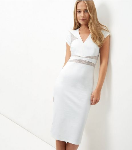 White Mesh Panel Midi Bodycon Dress | New Look
