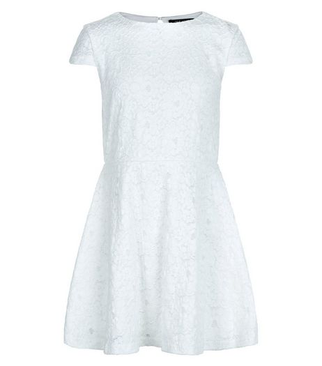 Girls Cream Lace Skater Dress | New Look