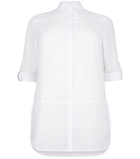 Curves White Sheer Panel Longline Shirt | New Look