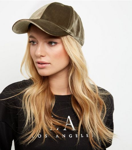 Khaki Velvet Cap | New Look