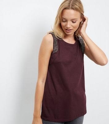 Anita and Green Burgundy Embellished Trim Vest