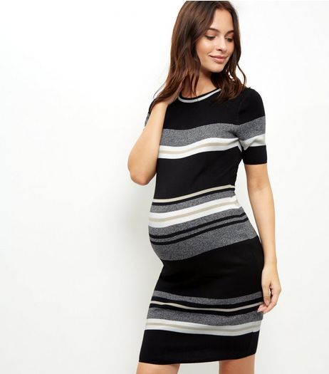 Maternity Grey Stripe Print Knit Dress | New Look