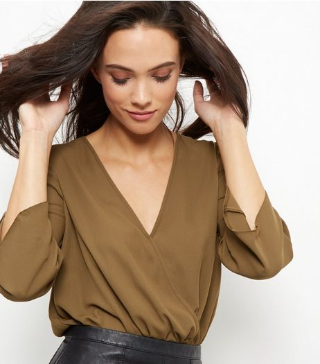 Khaki Wrap Front 3/4 Sleeve Bodysuit  | New Look
