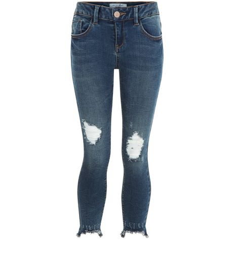 Girls Blue Ripped Knee Fray Hem Skinny Jeans | New Look
