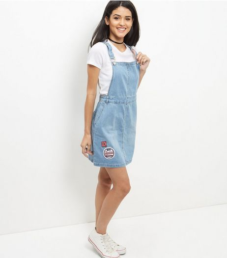 Blue Badge Embroidered Denim Pinafore Dress | New Look