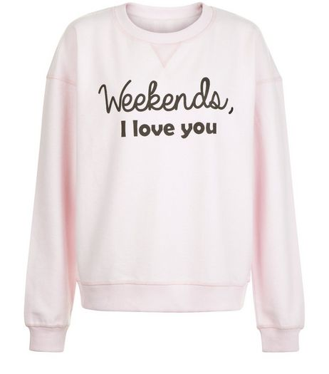 Heartbreak Pink Weekends I Love You Sweater  | New Look