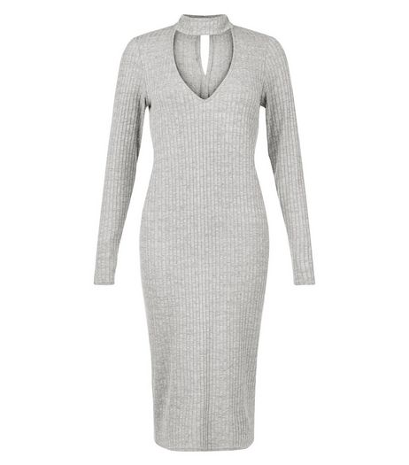 Grey Ribbed Cut Out Funnel Neck Bodycon Dress  | New Look