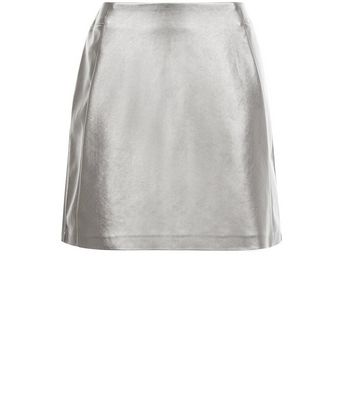 Product photo of Petite silver leatherlook skirt