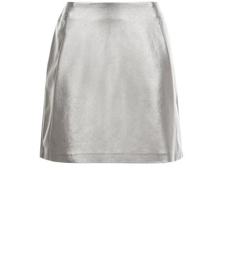 Petite Silver Leather-Look Skirt | New Look