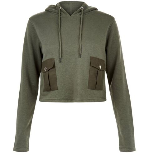 Heartbreak Khaki Pocket Cropped Hoodie | New Look