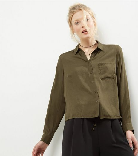 Khaki Long Sleeve Sateen Shirt  | New Look
