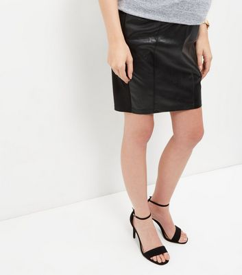 Product photo of Maternity leatherlook over bump skirt