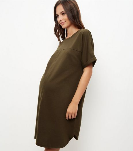 Maternity Khaki V Neck Tunic Dress | New Look