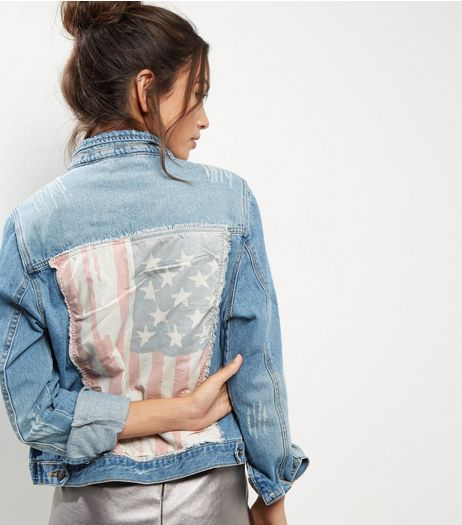Heartbreak Blue USA Flag Denim Jacket | New Look