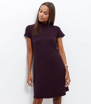 Blue Stripe Funnel Neck Mini Dress