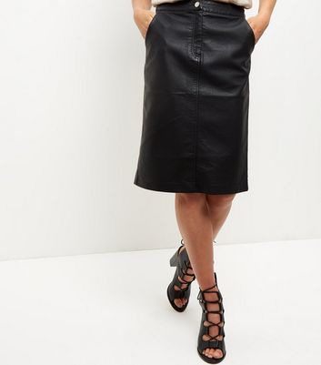 Black Leather-Look Zip Front Midi Skirt