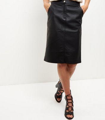 Black Leather-Look Zip Front Midi Skirt