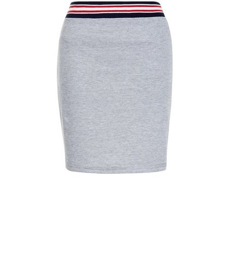 Heartbreak Grey Stripe Trim Mini Skirt | New Look