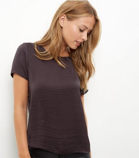 Dark Grey Sateen T-Shirt | New Look